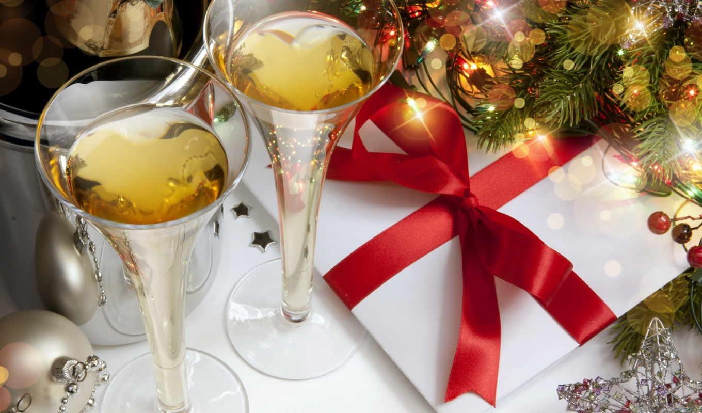 звезда, шампанское, шары, блестки, подарок, елка, новый, год,
