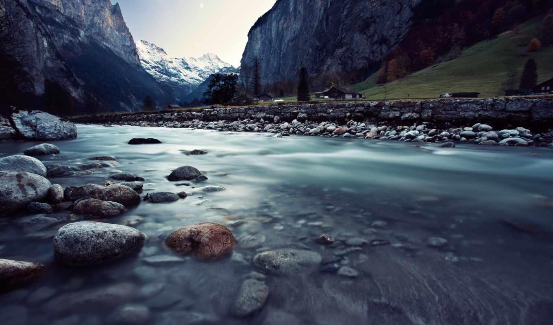 река, швейцария, горы, lauterbrunnen, камни,