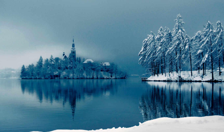 снег, острове, озеро, зима, собор, картинка, деревья, bled, высоком, размером, качестве, nature,