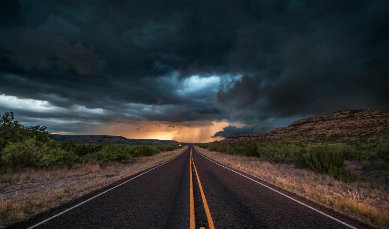 сша, дорога, texas, тучи, вечер, state, облака, пейзажи -, буря,
