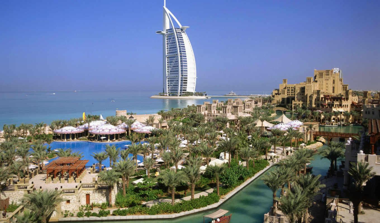 арабский, аль, бурдж, бурж, hotel, burj, арабская, искусственном, острове, башня,