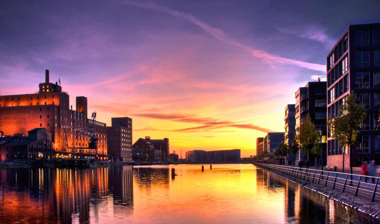 закат, дома, город, река, совершенно, города, небо,