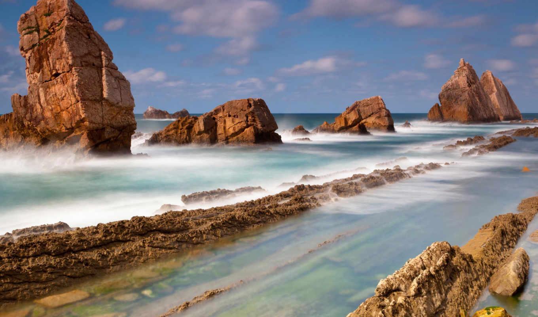 природа, landscape, море, liencres,