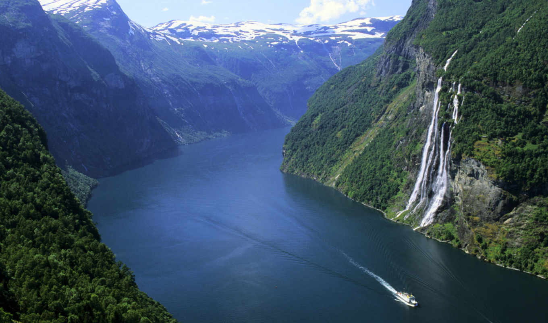 снег, фьорд, норвегия, катер, водопад, горы, лес, эти,