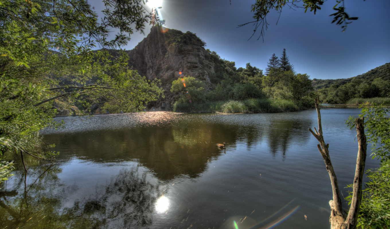 hdr, malibu, сша, california, река, картинка,