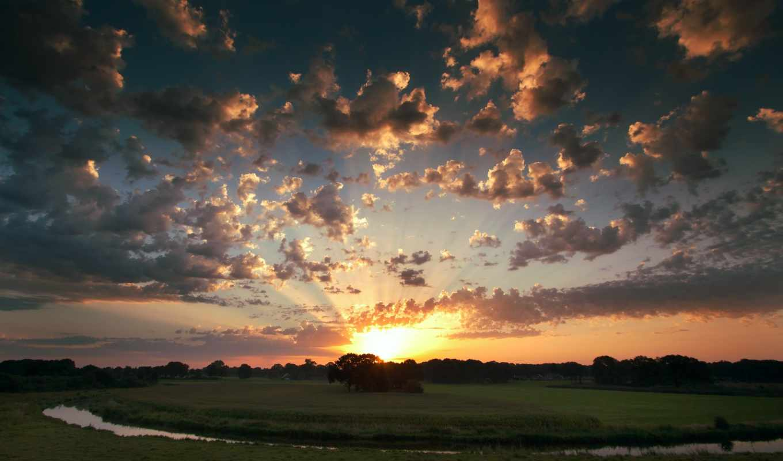 небо, закат, облака, sun, деревья, поле, вечер,