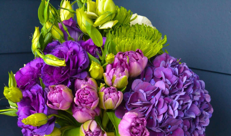 цветы, розы, букеты, эустома, фиолетовые,