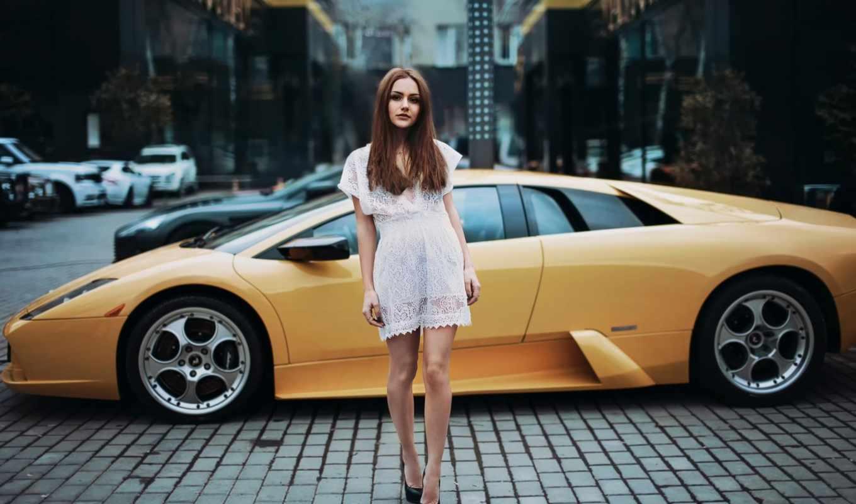 devushki, девушка, автомобили, авто, сексуальные, желтая, город,
