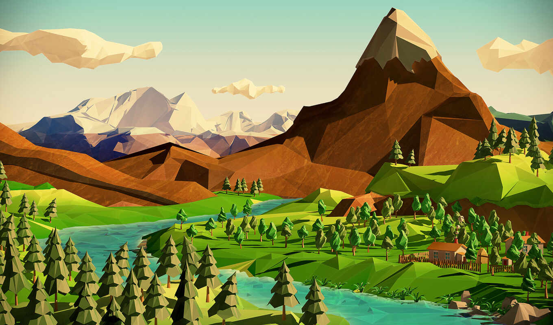 poly, low, landscapes, landscape, funon, neverchill, geometric, renders, декабрь, развлекательный, портал