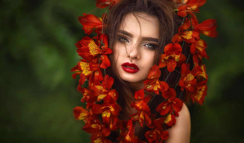 pazlyi, собрать, девушка, цветы, onlainpazlyi, art, взгляд, fine, глаза