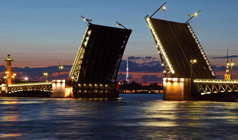 санкт, petersburg, neva, разводной, мост, river, питер, город, белые, ночи, russia, ночь, столица, северная,