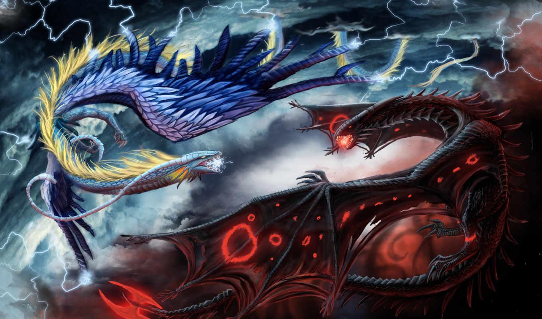 битва, драконы, fantasy, fight, монитора, качестве, фантастические, dragon,
