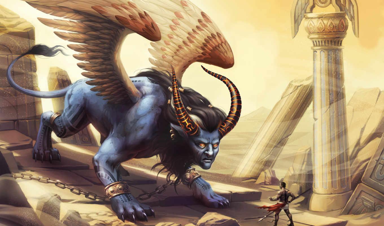 арт, sphynx, монстр, крылья, сфинкс, рога, человек, пустыня, песок,