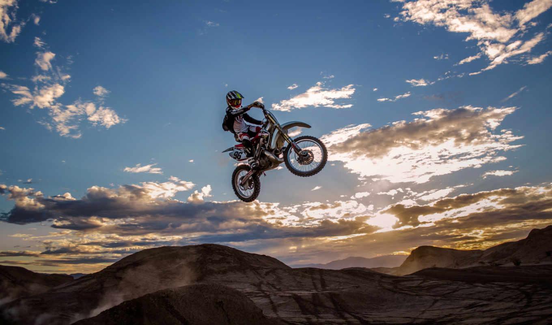 мотокросс, небо, мотоцикл, прыжок, спорт, облака, доступны,