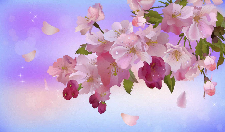 ветка, боке, яблоня, сакуры, листья, цвету, от,