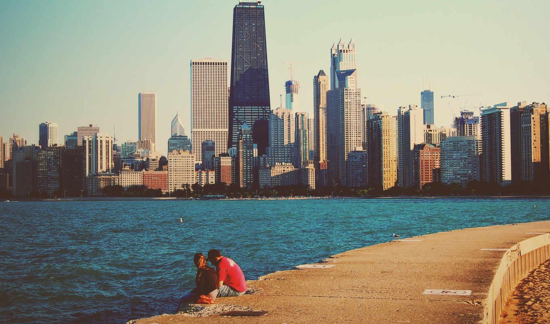chicago, высотки, michigan, озеро, usa, город,