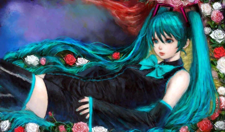 anime, красивых, певицы, hatsune, мику, обои, звез