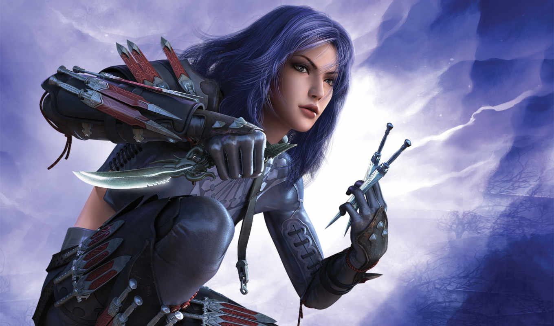 guild, wars, fantasy, воин, ножи, девушка, www, assassin, image,