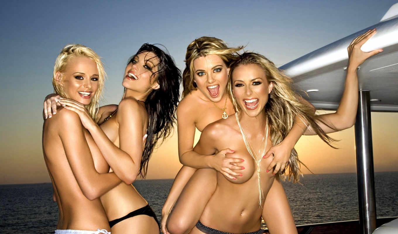 девушки, яхте, голые, девушек, девушка,