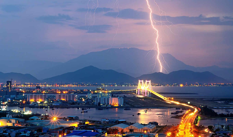 город, огни, вечер, lightning, горы,