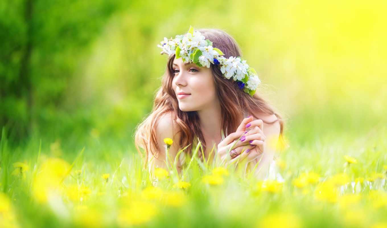 девушка, венок, венке, цветы, июня, венком, фотосток, цветочном, stock,