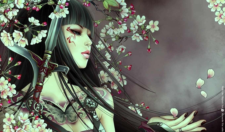 art, девушка, картинка, пам, волосы, длинные, bai, голубые, xiao,