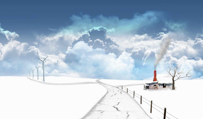 winter, дорога, облака, дом, снег, картинка, hintergrundbilder, desktop, photoshop, season, качестве, высоком, fotoğrafları, image, размером,