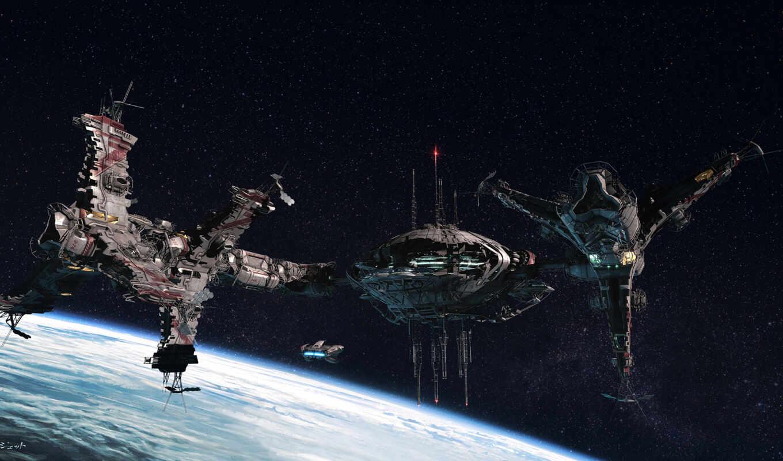 станции, корабли, звезды, планета, пространство, concept, art, station, popov, jetto, dmitry, картинку,