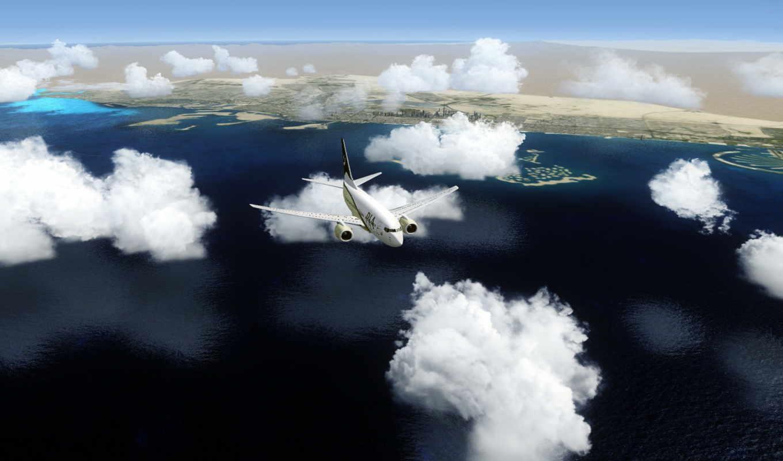 самолёт, oblaka, море, clouds, самолеты, широкоформатные, нравится, судно, облако,