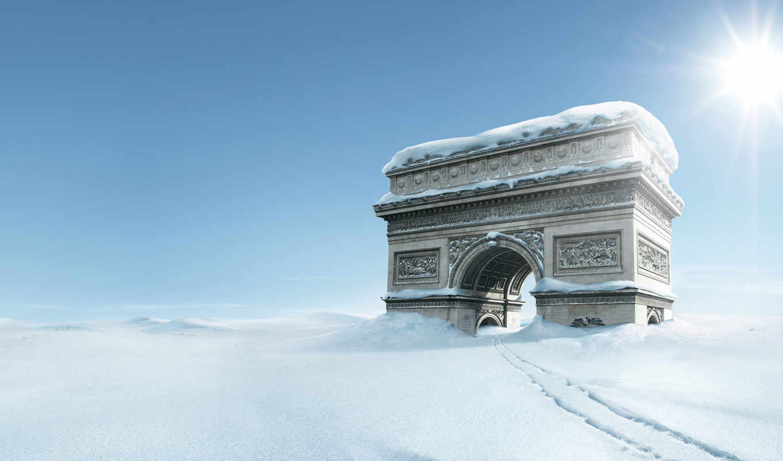 triomphe, arc, snow, winte,