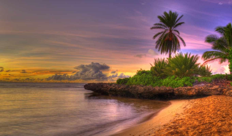 небо, пляж, природа, море, пейзаж, закат, восход, солнца, облака, берег,