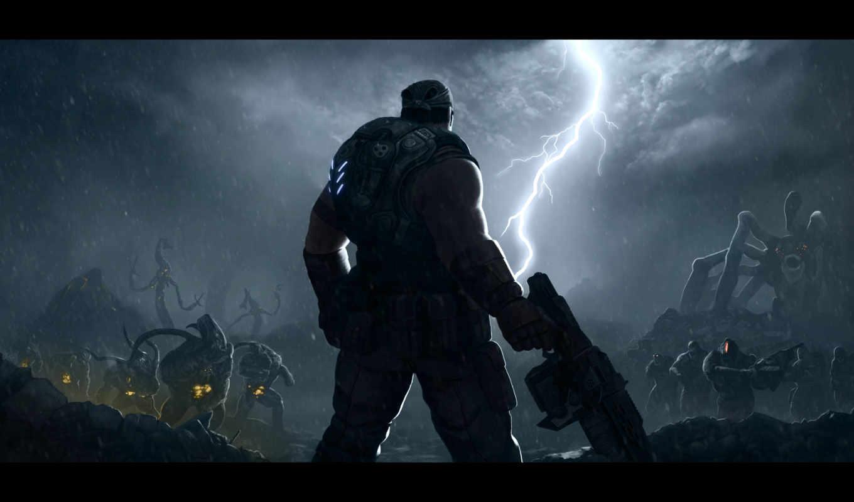 war, gears, игры, битва, монстры, contest, art, маркус, оружие,