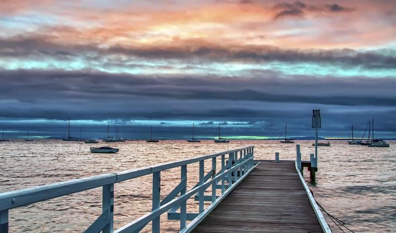 harbor, лодка, деревянная, landscape, мост, pier, февр, побережье, you, fone, море,