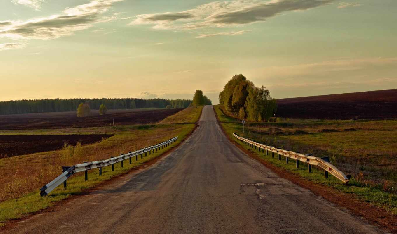 дорога, поле, природа, landscape, россия, oblaka, лес, sign,