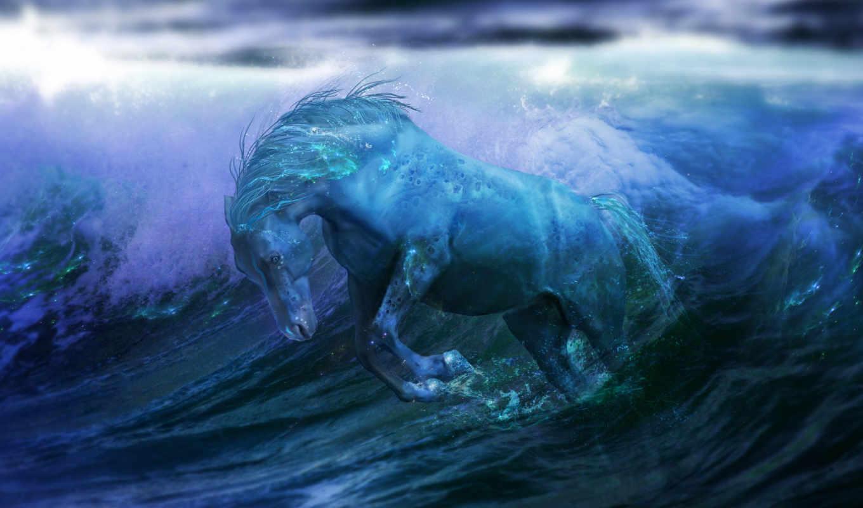 fantasy, ocean, лошадь, water,