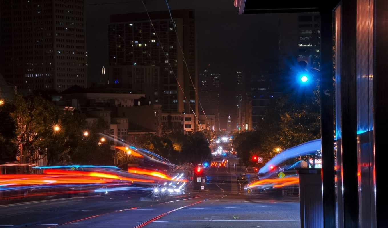 francisco, san, ночь, калифорния, улица, usa, огни,