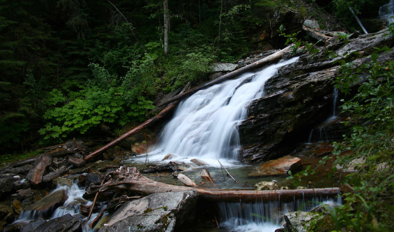 водопад, течение, камни, картинку, картинка, nature, кнопкой, кликните,