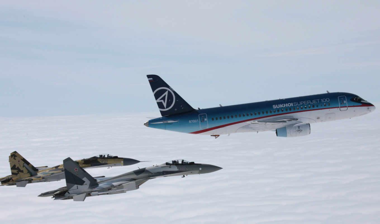 sukhoi, superjet, самолёт, полет, эскорт, авиация, сухой, суперджет, пассажирский, истребители, вернуться, изображения, свой, поделиться,