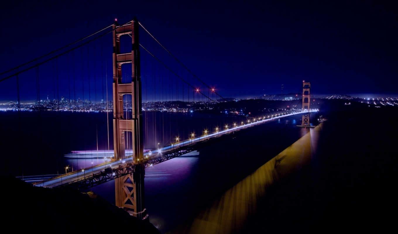сан, франциско, мост, золотые, ворота, огни, города, калифорния, ночь, город,