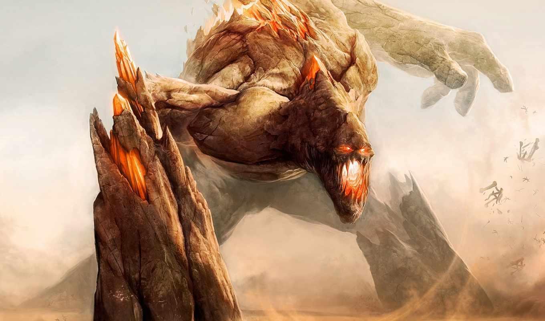 monsters, titan, fight, sand, fantasy, giant, art, июня,