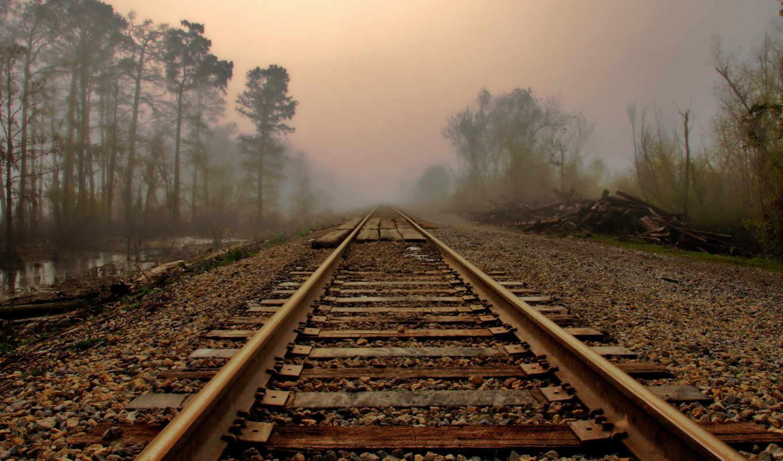 туман, дорога, landscape, утро, рельсы, природа, лес,