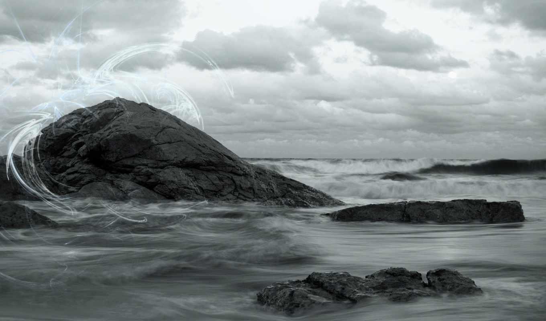 скалы, небо, волны, море, картинка, природа,