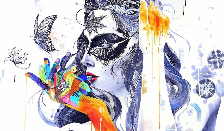 абстракция, цветы, узоры, девушка, бабочка, краски,