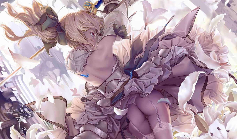 девушка, платье, anime, saber, доспех, чулки, fatestay, ночь, меч, lily,