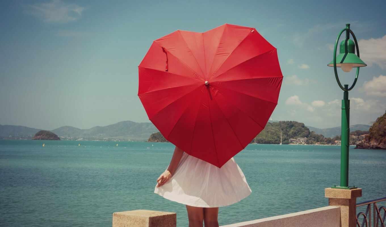 девушка, зонтик, красное