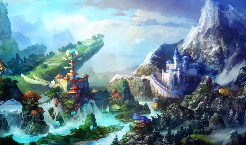 fantasy, art, castles,