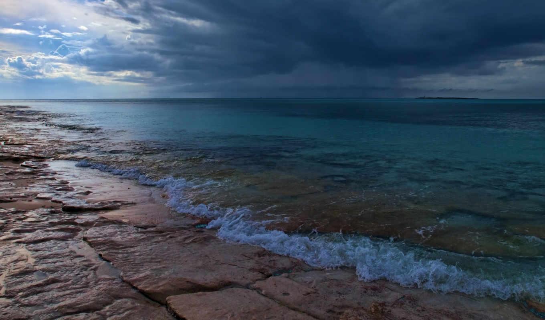 тучи, море, облака, горизонт, природа, берег,