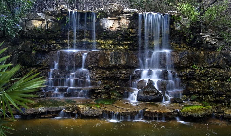 водопады, природа, zilker, botanical, texas, искусственный,