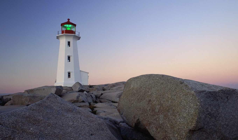 nova, scotia, peggy, lighthouse, cove, point, bay, 格蕾斯margaret,