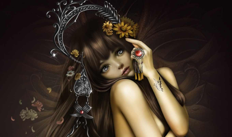девушка, art, тату, украшения, бабочка, цветы, hang, nana,